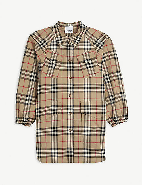 BURBERRY: Teigan four-pocket checked cotton dress 3-14 years