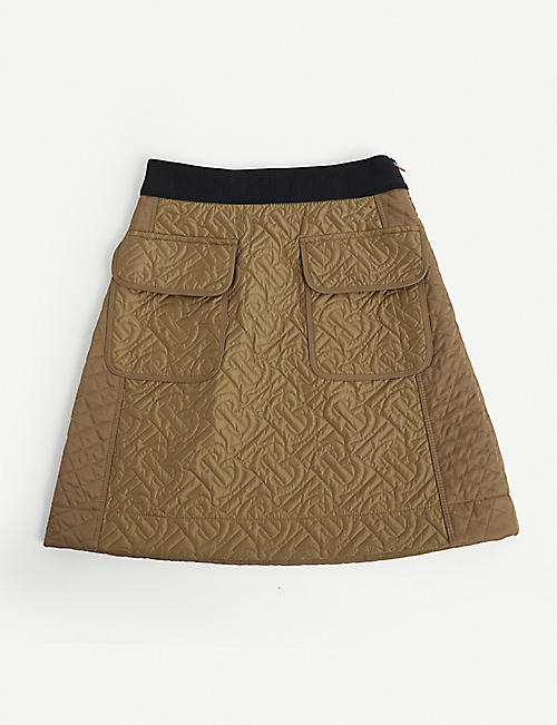 BURBERRY: Frances quilted satin skirt 4-14 years