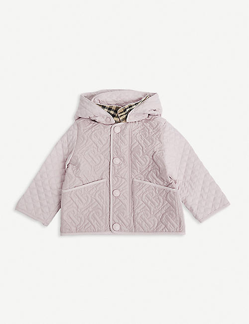 BURBERRY: Giaden quilted satin coat 6-24 months