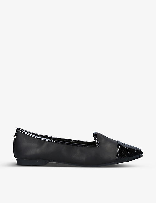CARVELA: Mercy croc-embossed patent-toe leather flats