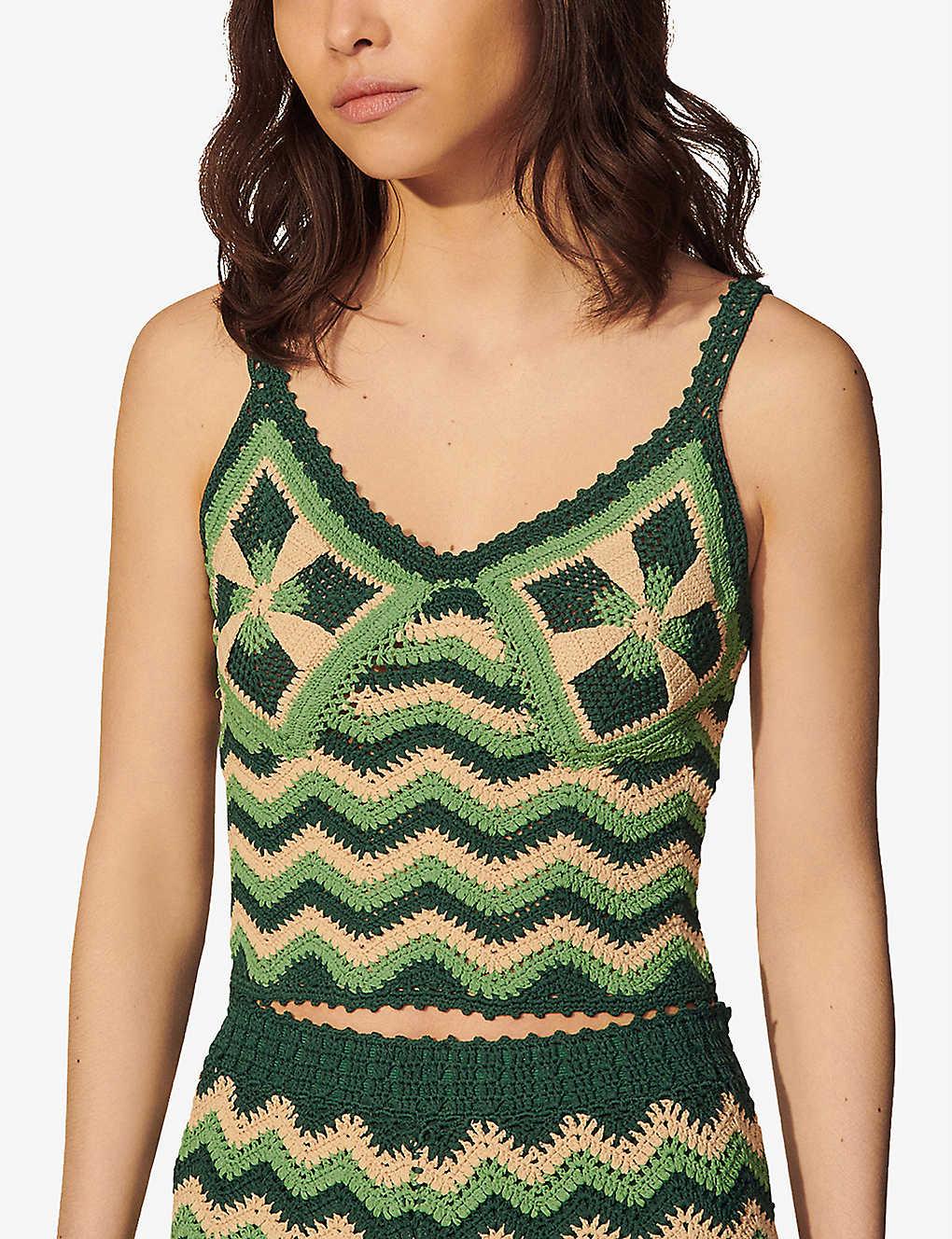 SANDRO Francine striped crocheted top