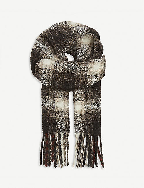 ELEVENTY: Checked alpaca and wool-blend scarf