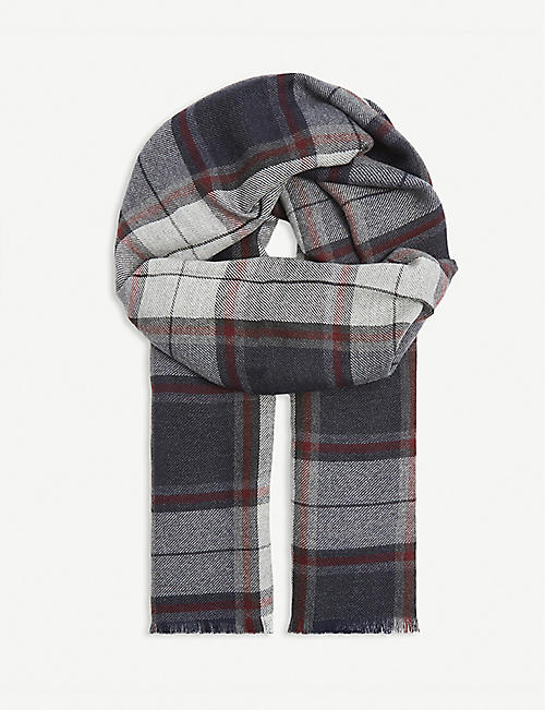 ELEVENTY: Checked knitted cashmere and silk-blend scarf