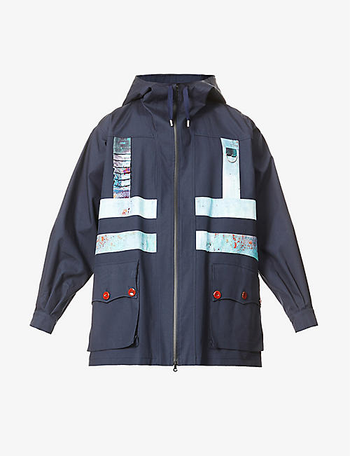LABRUM LONDON: Upcycled contrast-appliqué hooded cotton-blend coat