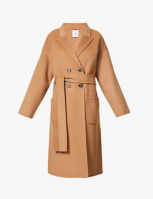 ANINE BING: Dylan belted double-breasted wool and cashmere-blend coat