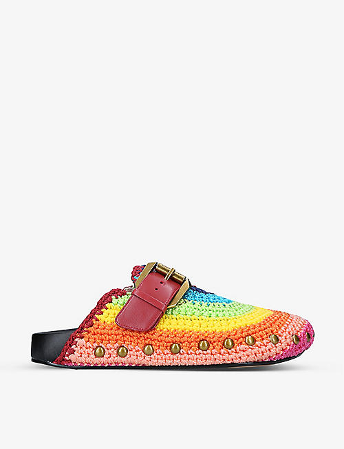 KURT GEIGER LONDON: Ozark buckle-embellished rainbow-knitted mules