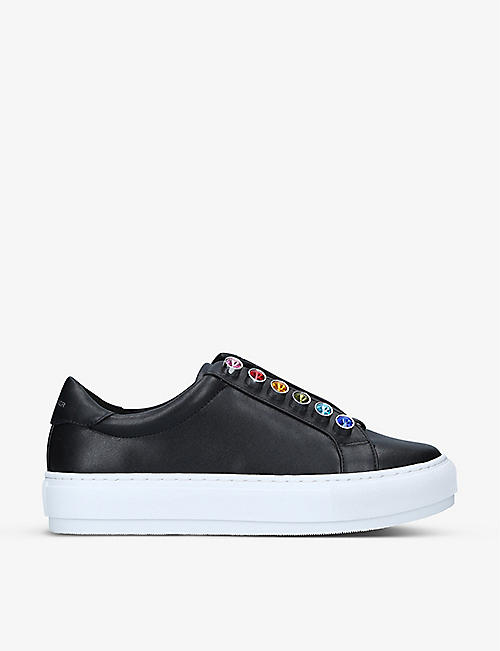 KURT GEIGER LONDON: Liviah embellished leather trainers
