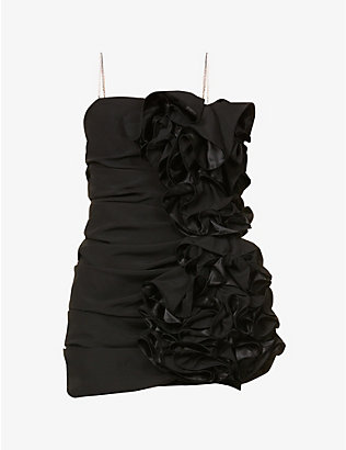 MAGDA BUTRYM: Ruffled stretch-silk mini dress
