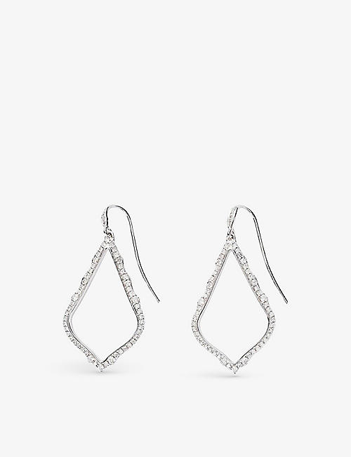 KENDRA SCOTT: Sophia 14ct white-gold and pavé white diamond drop earrings