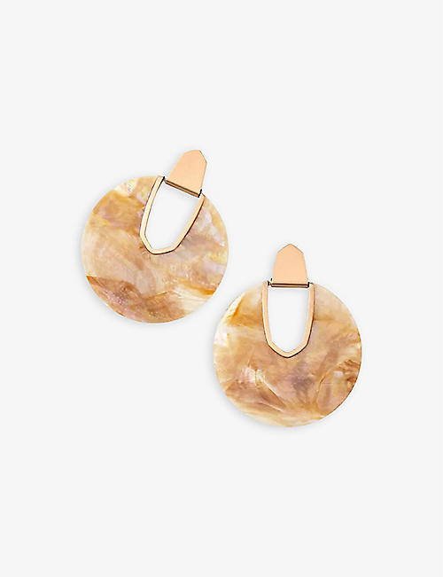 KENDRA SCOTT: Diane rose gold-plated and brown mother-of-pearl earrings