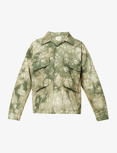 NICHOLAS DALEY: Tie-dye cotton and linen-blend overshirt
