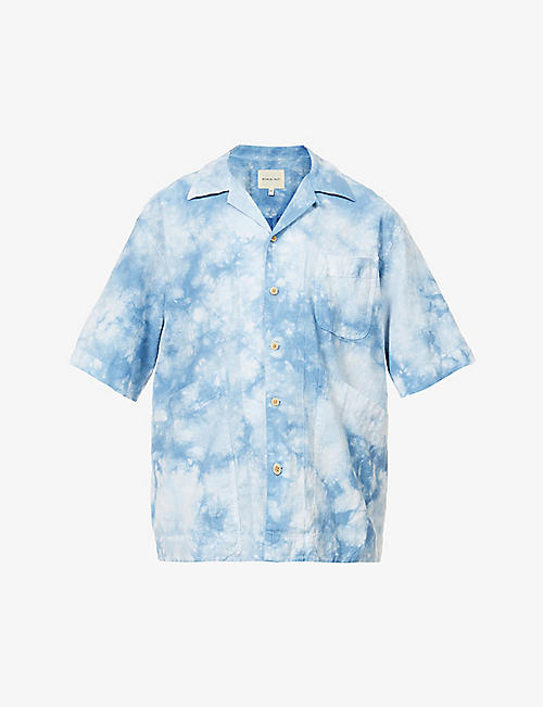 NICHOLAS DALEY: Beach tie-dye cotton and linen-blend shirt