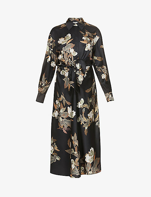 VINCE: Lisianthus floral-print satin midi shirt dress