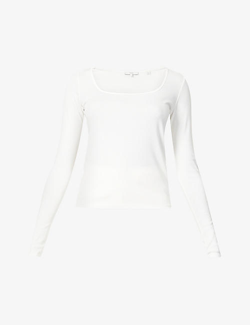 VINCE: Square-neck cotton-blend top
