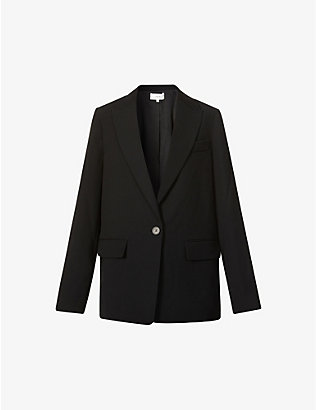 VINCE: Single-breasted crepe jacket