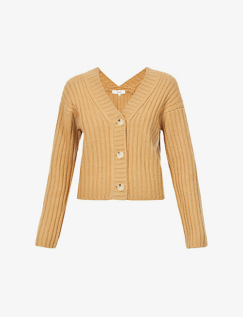 VINCE: V-neck dropped-shoulder wool and cashmere-blend cardigan