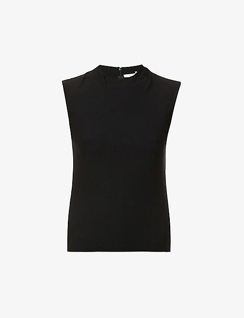 VINCE: High-neck fitted stretch-jersey top