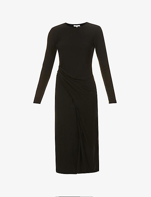 VINCE: Loose-fit scoop-neck stretch-jersey midi dress