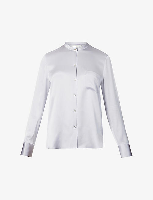 VINCE: Stand-collar silk-satin shirt