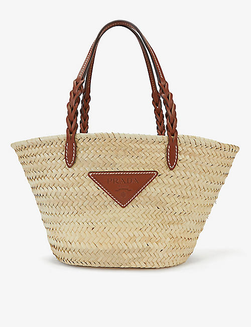 PRADA: Branded wicker and leather basket tote bag