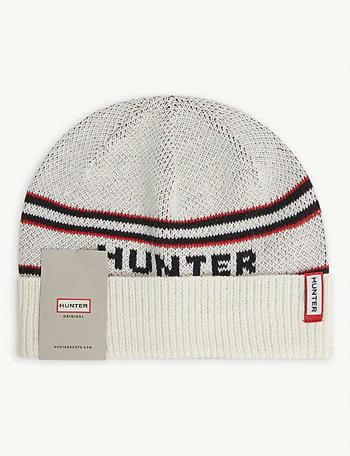HUNTER: Logo-embroidered knitted beanie