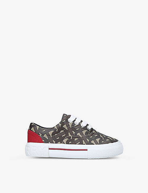 BURBERRY: Monogram low-top E-canvas sneakers 5-9 years
