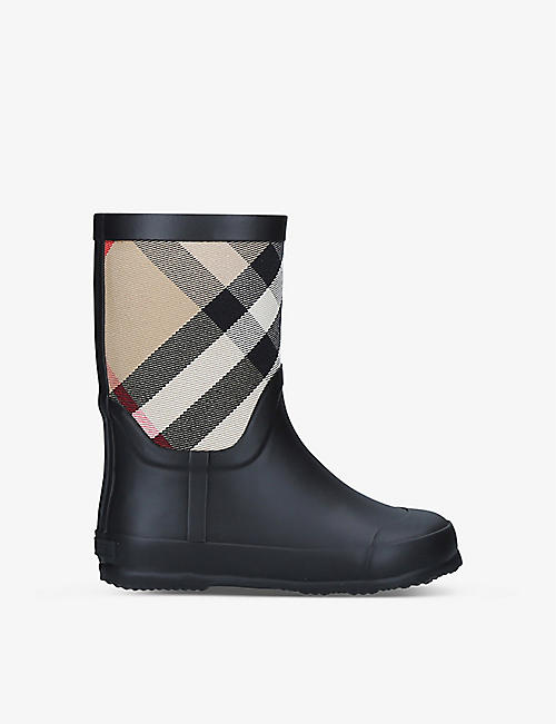 BURBERRY: Ranmoor checked rubber wellington boots 5-9 years