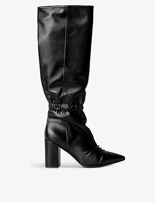 ZADIG&VOLTAIRE: Glimmer pointed-toe heeled knee-high leather boots