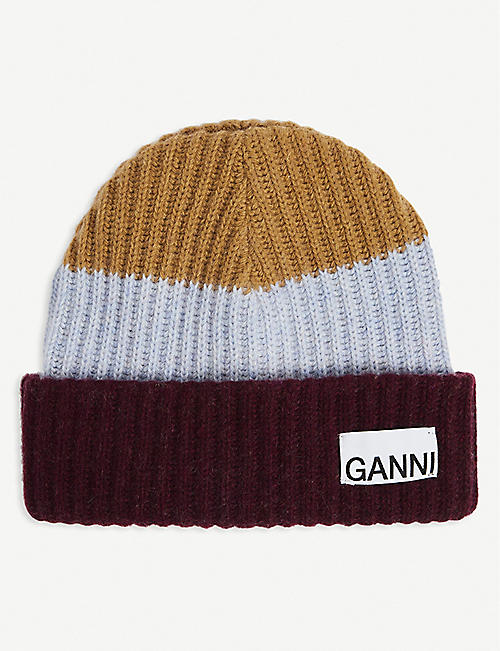 GANNI: Logo-patch recycled wool-blend beanie hat