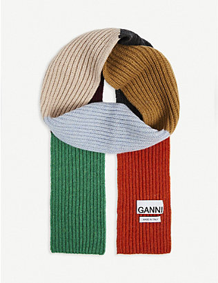 GANNI: Logo-patch recycled wool-blend scarf