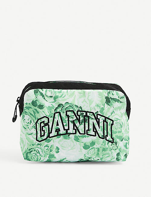 GANNI: Brand-embroidered floral-print recycled-polyester makeup pouch