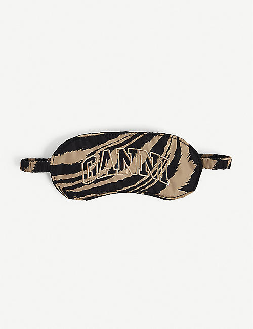 GANNI: Brand-embroidered zebra-print recycled-polyester eye mask
