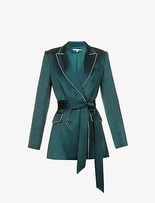 VERONICA BEARD: Eiza double-breasted belted satin blazer