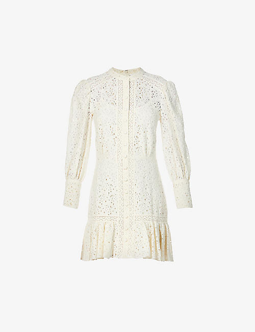 VERONICA BEARD: Hilda lace cotton-blend mini dress