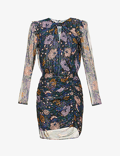 VERONICA BEARD: Peppa floral-print metallic-silk mini dress