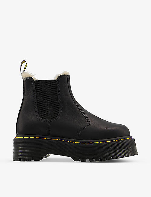 DR. MARTENS: 2976 leather and faux-fur Chelsea boots