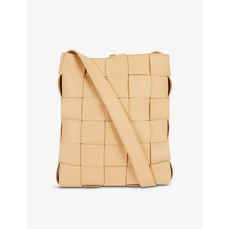 Bottega Veneta Cassette Messenger Intrecciato Leather Tote Bag In Almond Gold