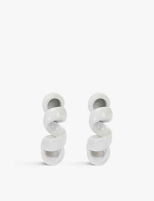BOTTEGA VENETA: Telephone Wire silver hoop earrings