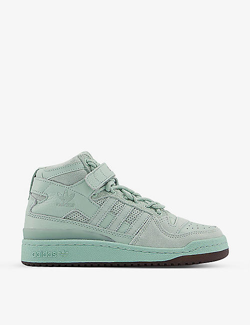 ADIDAS: Forum leather and suede mid-top trainers