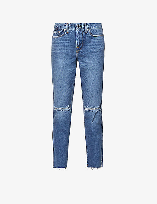 GOOD AMERICAN: Good Curve Straight cropped skinny high-rise jeans