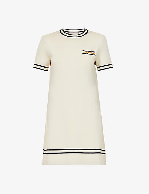 GUCCI: Chain-trimmed wool mini dress