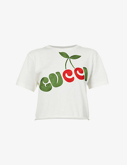 GUCCI: Cherry-print cropped cotton-jersey T-shirt