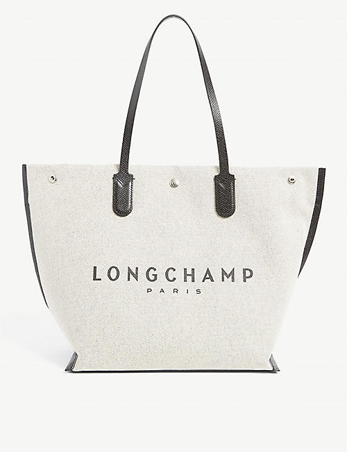 LONGCHAMP: Roseau Essential branded large cotton tote bag
