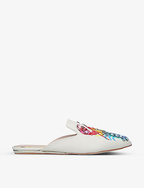 KURT GEIGER LONDON: Otter rainbow lobster-embroidered leather mules