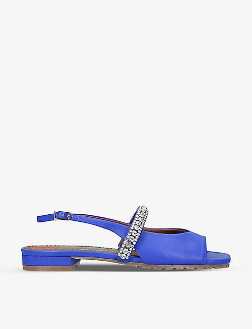 KURT GEIGER LONDON: Princely embellished-strap leather mules