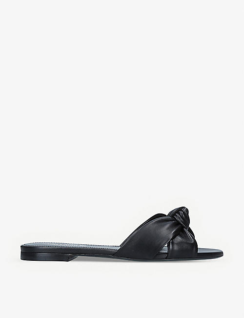 SAINT LAURENT: Bianca flat leather mules