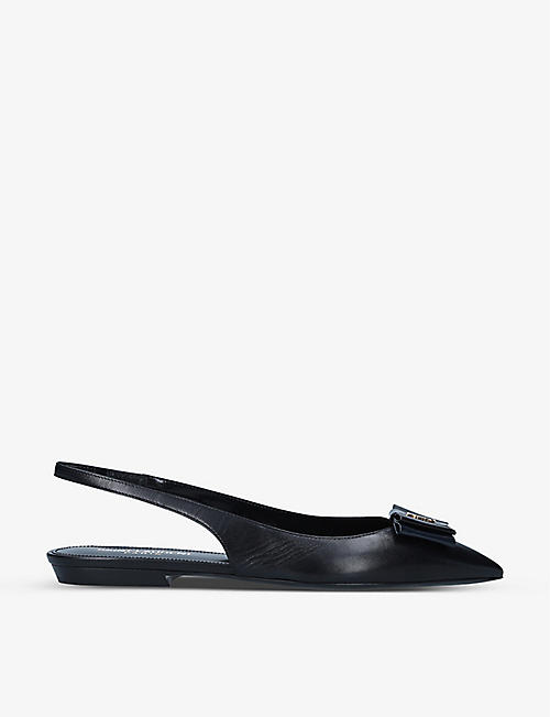 SAINT LAURENT: Anais bow-embellished leather flats