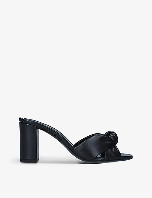 SAINT LAURENT: Bianca knotted leather heeled mules