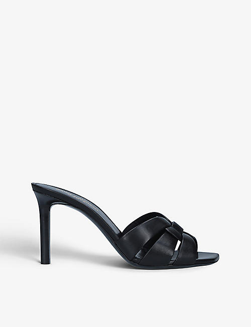 SAINT LAURENT: Tribute leather heeled mules