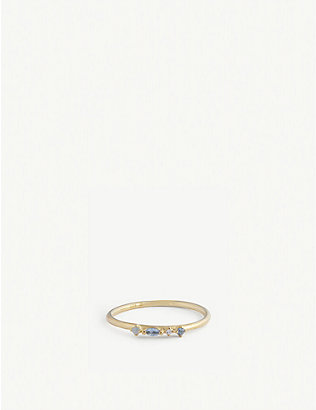 PD PAOLA: Midnight Blue 18ct gold-plated sterling silver ring